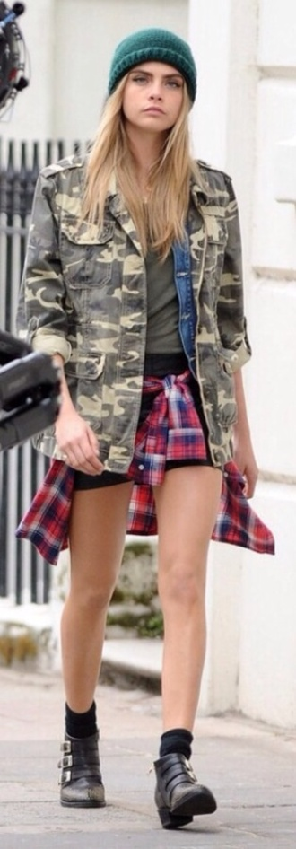 jacket cara delevingne army green jacket flannel denim jacket scarf hat coat shoes