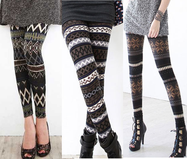Tights Knitting Pattern : Winter Nordic Fairisle Pattern Stripe Snowflake Thermal Knit Knitted Leggings...