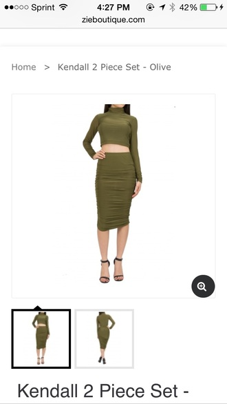 two-piece olive green dress