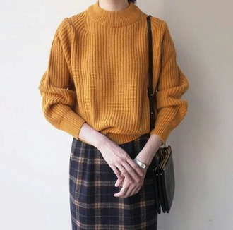 sweater pullover yellow mustard