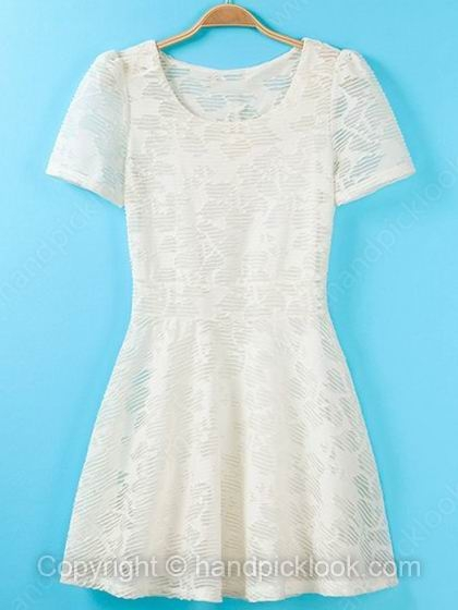 Beige Round Neck Short Sleeve Lace Ruffles Dress - HandpickLook.com