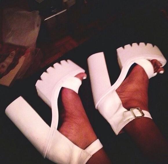 white boots white heels platform shoes chelsea boots wedged shoes platform shoes