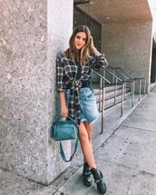 take aim,blogger,top,skirt,bag,shoes,boots,balenciaga,denim skirt,plaid shirt