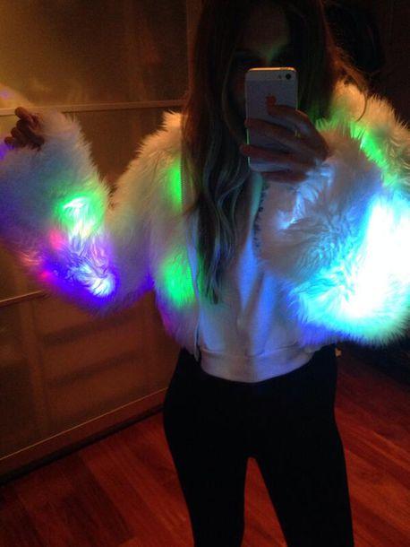 Coat: light up coat, lights up, neon, rave, white coat ...
