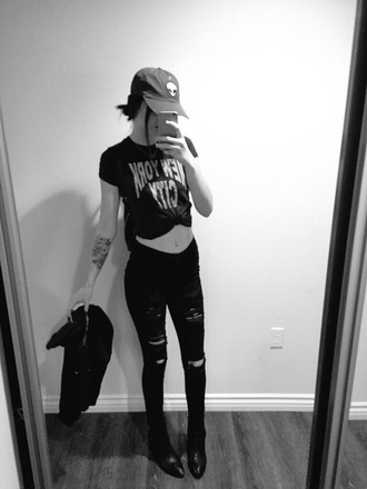 jeans ripped jeans grunge acacia brinley alien cap shirt hat shoes