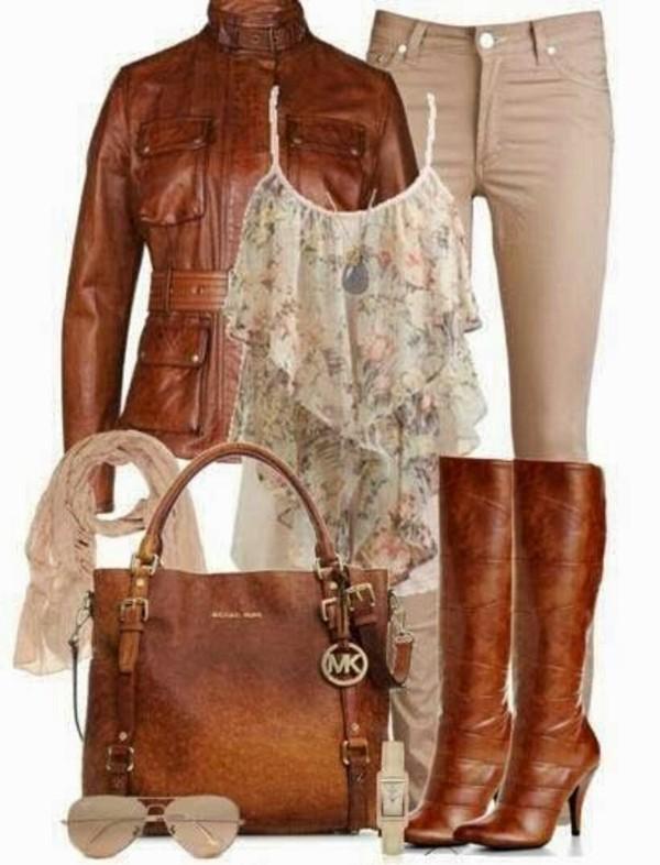 bag shirt tank top ruffle ruffled shirt michael kors classy work bag brown bag