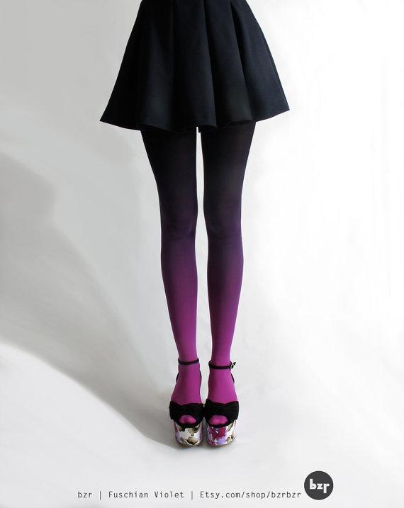 Bzr ombrã© tights in fuschian violet par bzrshop sur etsy