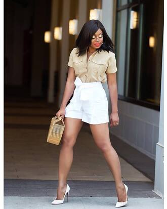 shirt nude shirt tumblr white shorts shorts pumps pointed toe pumps bag basket bag shoes
