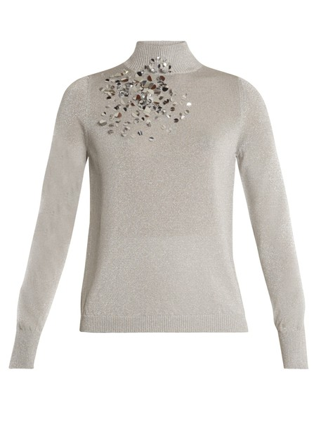 DELPOZO sweater high embellished silver