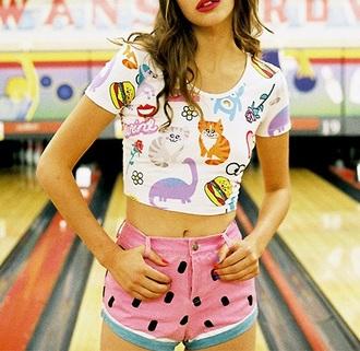 t-shirt funny shirt watermelon print cartoon shorts