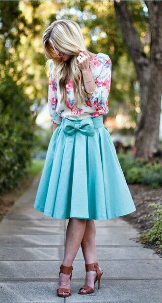 skirt blue blue skirt blue bow bow skirt cute skirt cute bow bows floral floral shirt blouse shirt cute hat