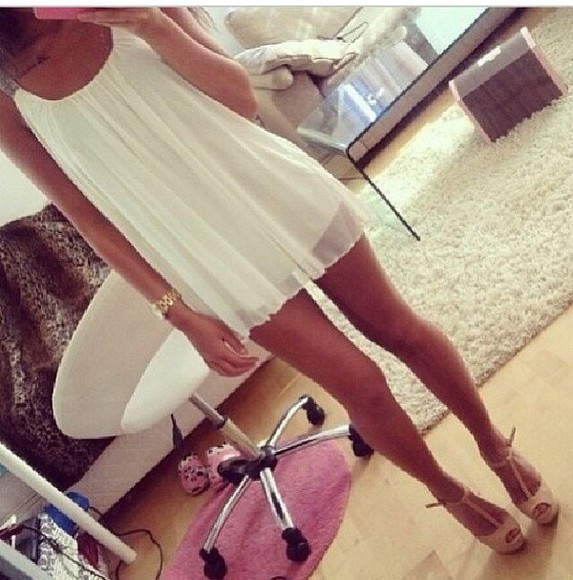 white loose fit white dress loose dress short dress silver