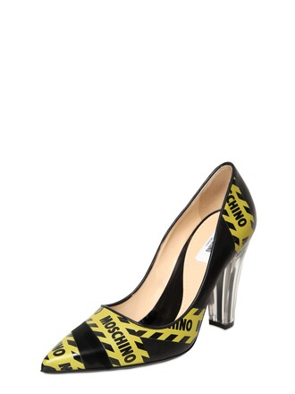 pumps leather black yellow shoes