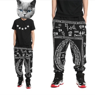 shirt five point stars t-shirt baggy pants geometric patterned pants black pants swag white cholo