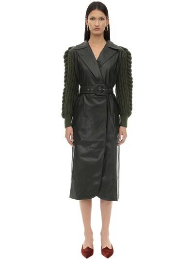 LIYA Faux Leather Coat W/knitted Sleeves Black/green