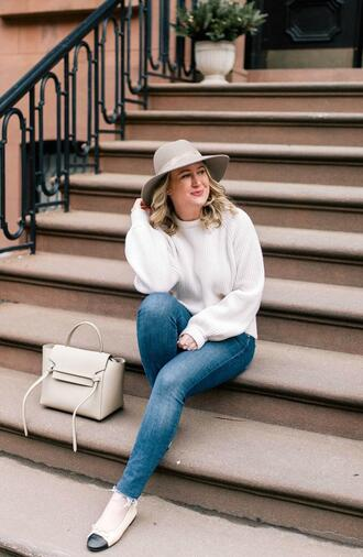 wit&whimsy blogger sweater jeans bag hat