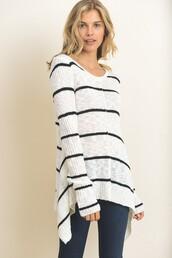 sweater,black,white,stripes,shark bite,long sleeves,marled