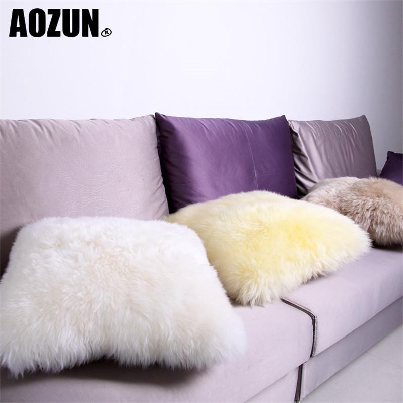 AOZUN Australia Sheepskin Luxury Fur Cushion Wool Filled Insert Include  Inner Pp Cotton Decorative Throw Pillow Sofa InCushion ...