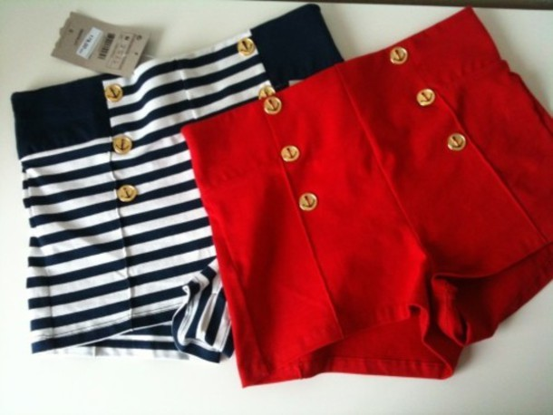 Red Gold Button Sailor Shorts - Unique Vintage - Prom dresses ...