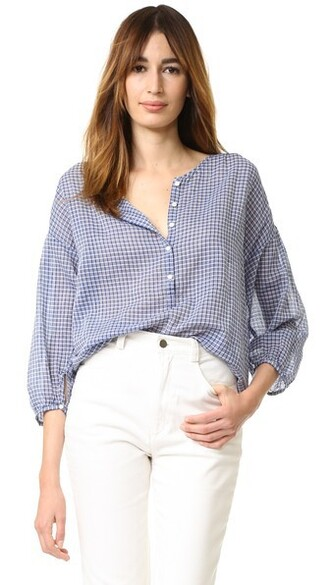 blouse white blue top