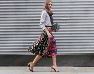 skirt olivia palermo fashion week 2014 streetstyle clutch bag scarf peter pilotto