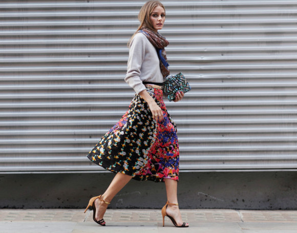 olivia palermo fashion week 2014 scarf skirt streetstyle clutch bag