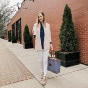 kelly in the city - a preppy chicago life,style and fashion blog,blogger,shirt,shoes,jeans,sweater,jacket,bag,tote bag,loafers,white pants,blue shirt
