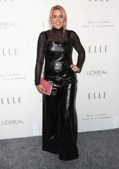 jumpsuit,busy philipps,all black everything,top,mesh,see through,sheer,turtleneck,pants