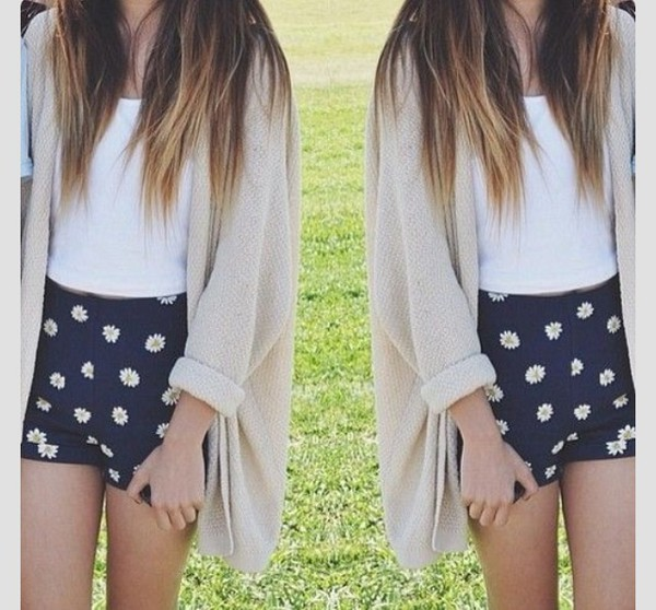 cardigan shorts shirt