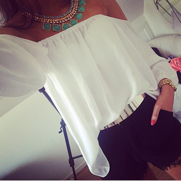 blouse white blouse top jewels shirt white clothes High waisted shorts black