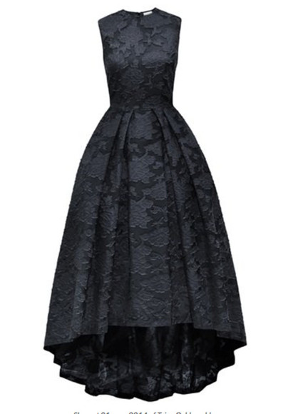 high-low black dress volume shape high neck dream dress