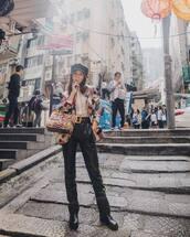 pants,black pants,leather pants,belt,boots,handbag,blazer,multicolor,sunglasses,cap,shirt