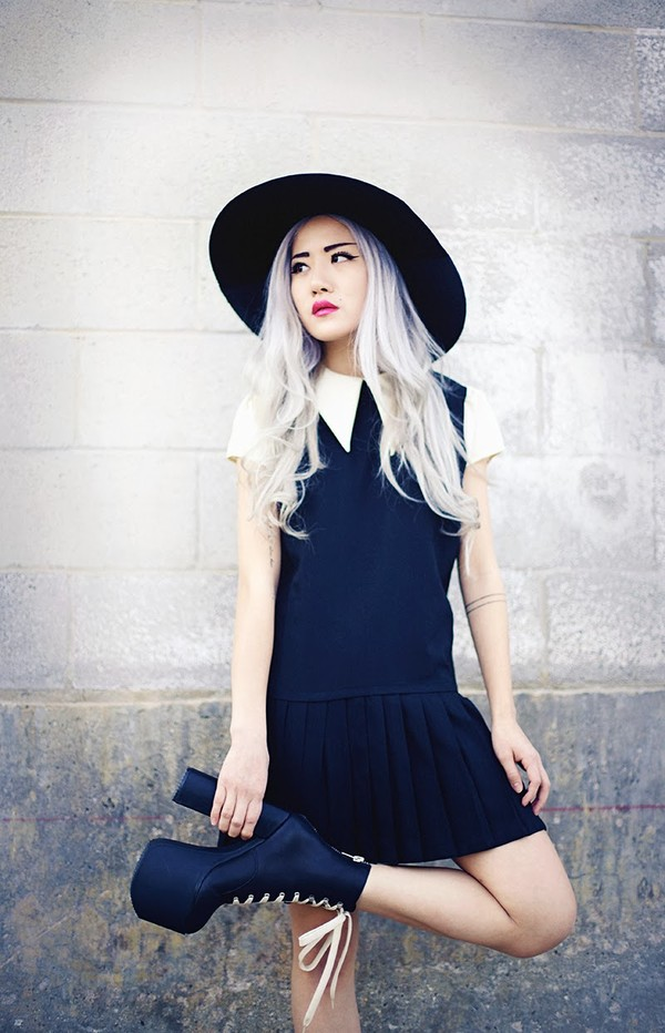 feral creature dress hat shoes peter pan collar black black and white grunge pale alternative navy navy dress