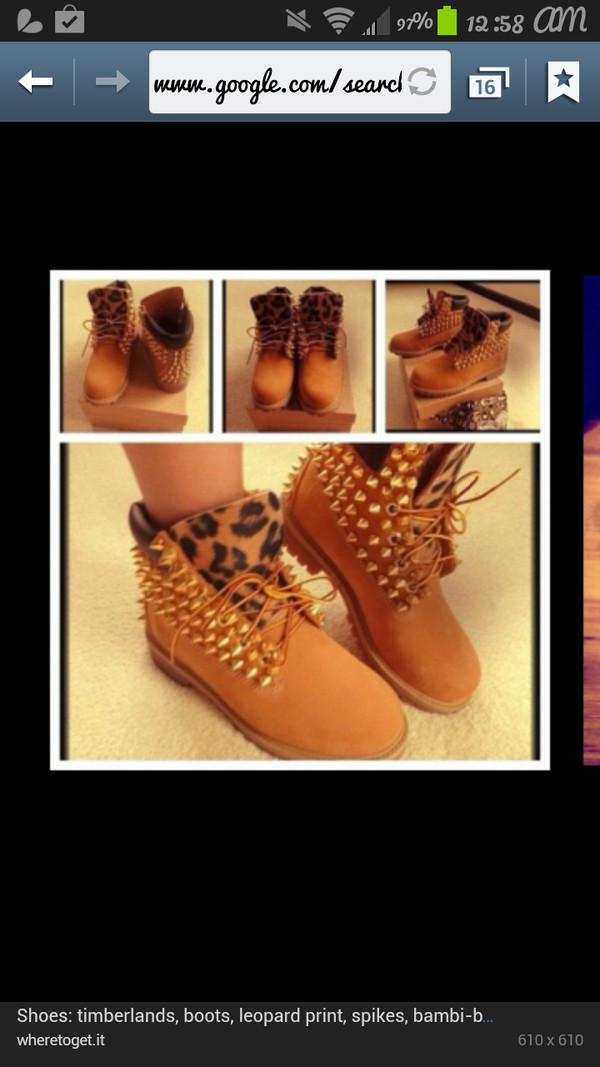 shoes timberlands boots with spikes and cheetah print