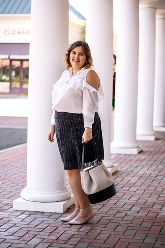 stylishsassy&classy blogger top skirt bag shoes curvy cut-out shoulder top white blouse ruffled top flats plus size top plus size