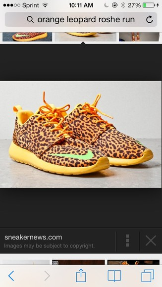 shoes nike orange roche runs roche cheetah leopard running shoes