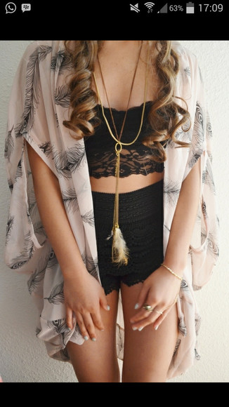 jacket kimono floral kimono underwear crop tops lace top black lace crop top lace crop top blouse