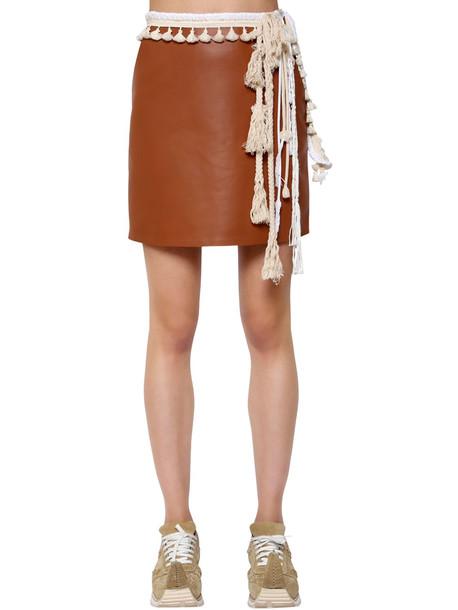 LOEWE Nappa Leather Mini Skirt W/ Rope Details in brown