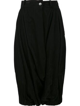 culottes women spandex cotton black pants