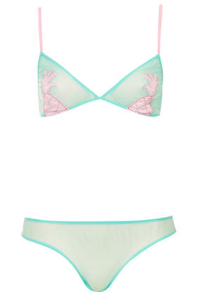 Triangle Cup Pineapple Bra and Mini Knickers - Lingerie  - Clothing - Topshop