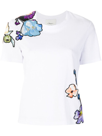 t-shirt shirt embroidered women floral white cotton silk top
