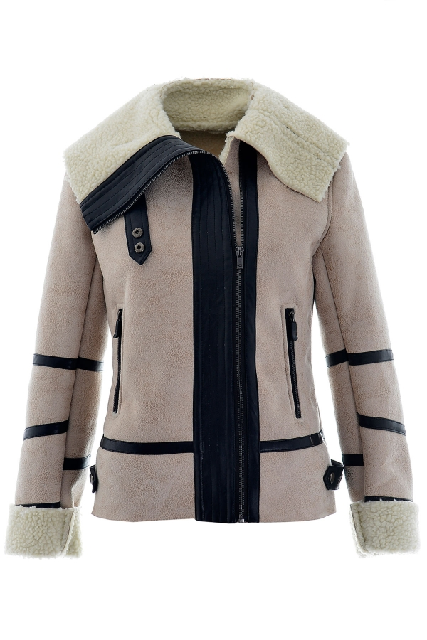 Fashion pu trim wide lapel khaki bomber jacket