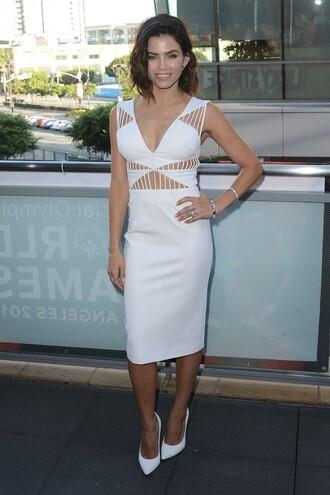 dress midi skirt white dress pumps jenna dewan summer dress cut-out