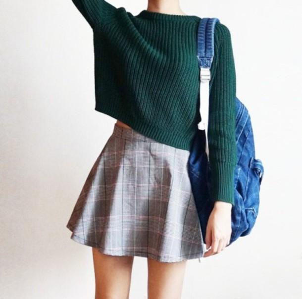 sweater tumblr skirt bag blue green sweater green