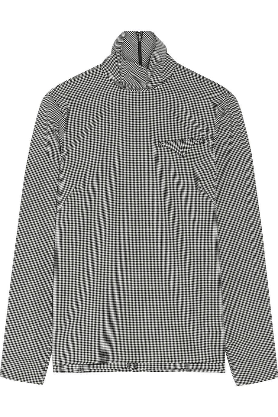 Facetasm Gingham Wool Turtleneck Top in black