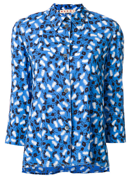 blouse women print blue top