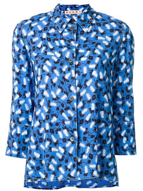 MARNI blouse women print blue top