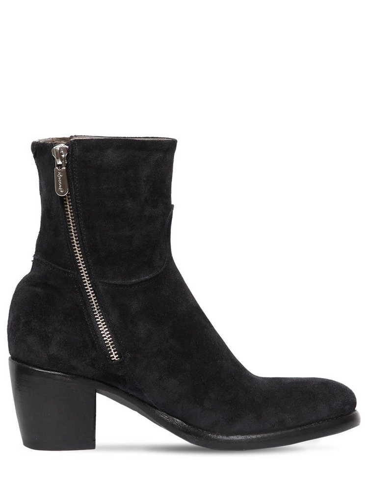 ROCCO P. 60mm Zipped Suede Ankle Boots in black