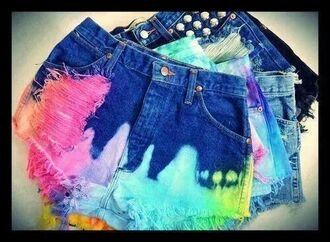 shortshorts dip dyed rainbow rainbowshorts dipdyeraindow shorts colored colorful denim multicolor tie dye