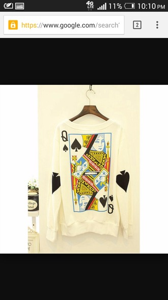 shirt long sleeve shirt white queen of spades